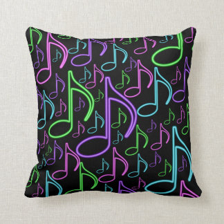 Cool and Fun Neon Music Note Collage Cushion