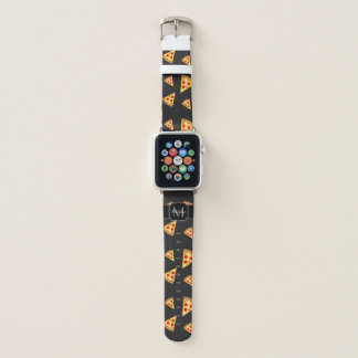 Cool and fun pizza slices pattern Monogram Apple Watch Band