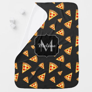 Cool and fun pizza slices pattern Monogram Baby Blanket