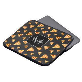 Cool and fun pizza slices pattern Monogram Laptop Sleeve