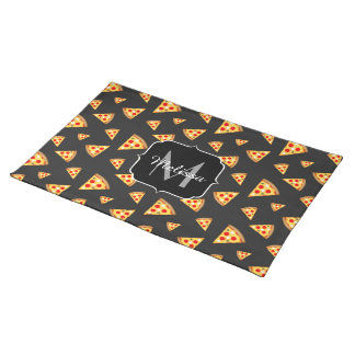 Cool and fun pizza slices pattern Monogram Placemat