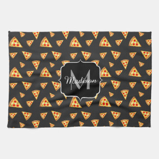 Cool and fun pizza slices pattern Monogram Tea Towel