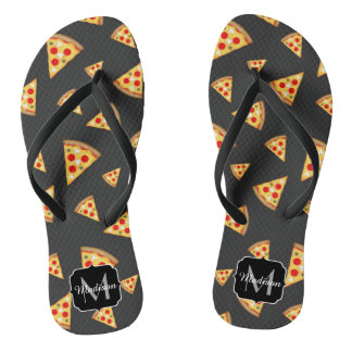 Cool and fun pizza slices pattern Monogram Thongs