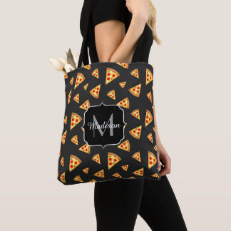 Cool and fun pizza slices pattern Monogram Tote Bag