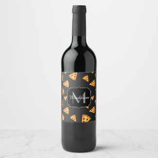 Cool and fun pizza slices pattern Monogram Wine Label