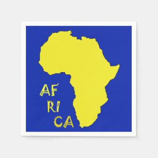 Cool and funky Yellow Africa Map Paper Napkin