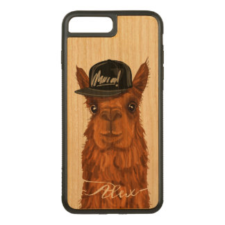 Cool and Funny Alpaca with a Trucker Hat. Carved iPhone 8 Plus/7 Plus Case