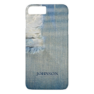 Cool and Funny Blue Jean Threads Custom Monogram iPhone 8 Plus/7 Plus Case