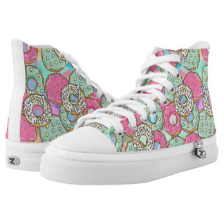 Cool and funny donut pattern high tops