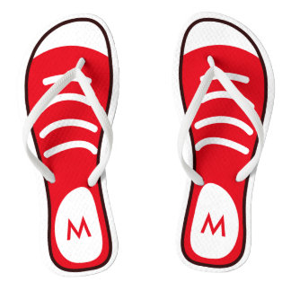 Cool and Funny Red Sneaker Shoes Look Monogram Thongs