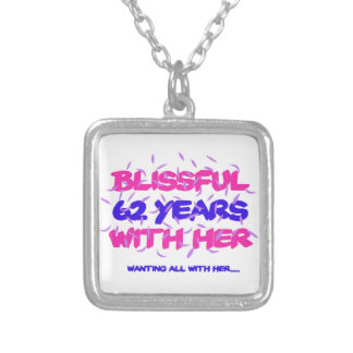 Cool and trending 62nd marriage anniversary design silver plated necklace