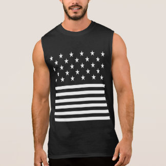 Cool and Trendy Patriotic White Stars and Stripes Sleeveless Shirt