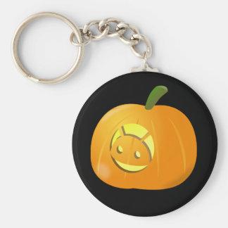 Cool Android Pumpkin Halloween Button Keychain