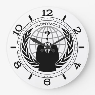 Cool Anonymous Logotype on White Dial Large Clock