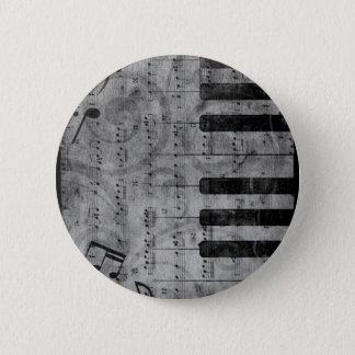 Cool antique grunge effect piano music notes 6 cm round badge
