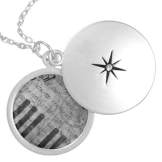 Cool antique grunge effect piano music notes round locket necklace