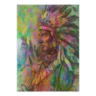 Cool antique native american Indian clipart colour Poster