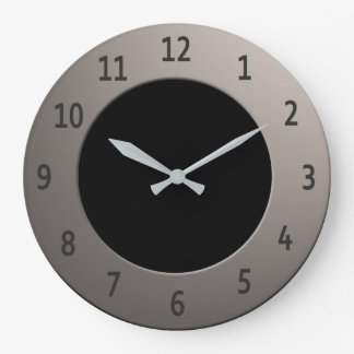 Cool any Color Black Digits on Silver Frame Large Clock