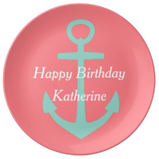 Cool Aqua Anchor on Coral Pink Happy Birthday Porcelain Plate