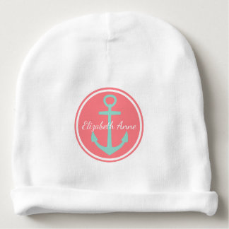 Cool Aqua Anchor on Coral Pink Personalized Baby Beanie