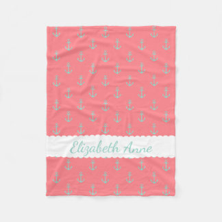 Cool Aqua Anchors on Coral Pink Personalized Fleece Blanket