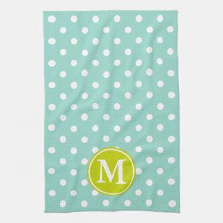 Cool Aqua and White Polka Dot With Lime Monogram Tea Towel