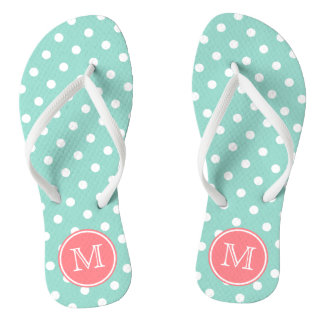 Cool Aqua and White Polka Dots with Coral Pink Thongs