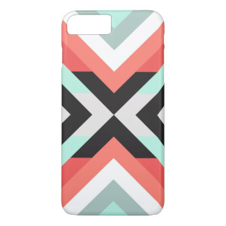 Cool Aqua Coral Geometric Color Block Design iPhone 7 Plus Case