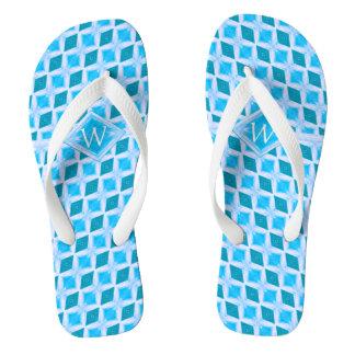 Cool Aqua Ice Diamond Pattern Monogram Thongs