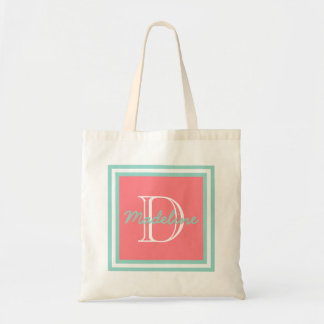 Cool Aqua on Coral Pink Monogram Tote Bag