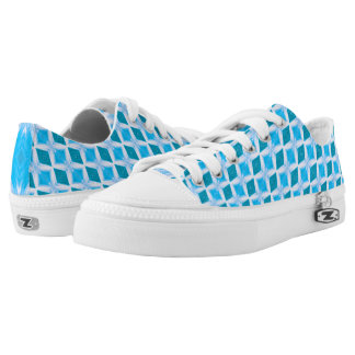 Cool Aqua Turquoise Diamond Pattern Low Tops