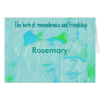 Cool Aquamarine Rosemary Herb Friendship Card