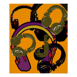 cool art deejay headphones poster