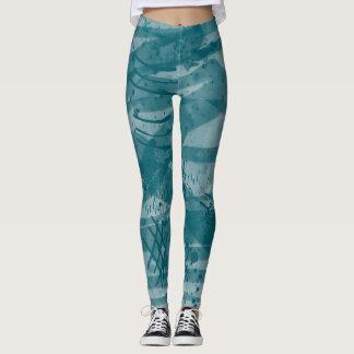 Cool Art Digital Painting Blue Ink All Over Print Leggings