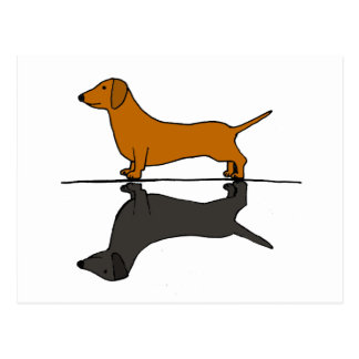 Cool Artistic dachshund Dog and Shadow Art Postcard