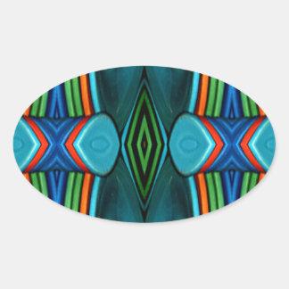 Cool Artistic Funky Symmetrical Pattern Oval Sticker