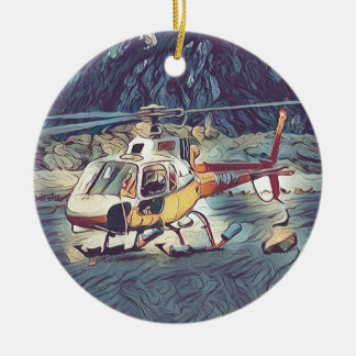 Cool Artistic Helicopter Ceramic Ornament