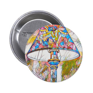 Cool Artistic Stained Glass Lamp Shade 6 Cm Round Badge