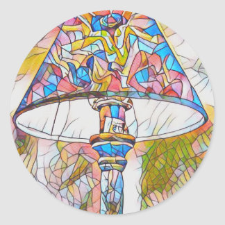 Cool Artistic Stained Glass Lamp Shade Round Sticker