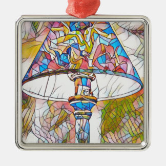 Cool Artistic Stained Glass Lamp Shade Silver-Colored Square Decoration