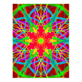 Cool Artistic Star Shaped Psychedelic Pattern Postcard