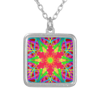 Cool Artistic Star Shaped Psychedelic Pattern Square Pendant Necklace