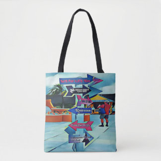 Cool Artistic Travel Arrow Post Tote Bag