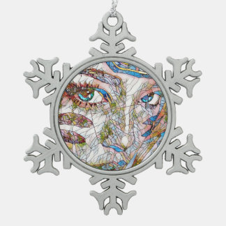 Cool Artistic Uncommon Stained Glass Face Pewter Snowflake Decoration