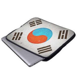 Cool Artistic Vintage Grungy South Korea Flag Laptop Sleeve