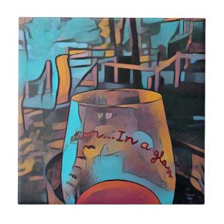 Cool Artistic Wine Glass Small Square Tile