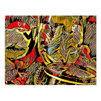 Cool Artsy Modern Wine Glass Decor Postcard