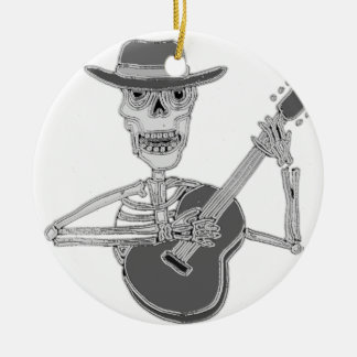Cool Artsy Skeleton Playing Guitar Ceramic Ornament