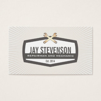 Cool Auto Mechanic and Handyman Gold Wrench 2 Business Card