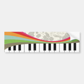 Cool awesome trendy piano retro colours stripes bumper sticker